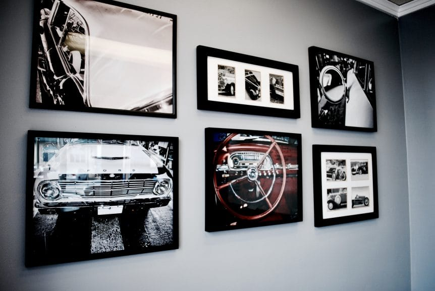 classic car gallery wall